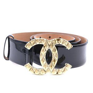 Black Patent Leather Wide Cc Quilted 85 34 Belt
